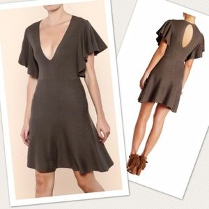 Free People Knit Ruffle Sleeve Fit and Flare Dress
